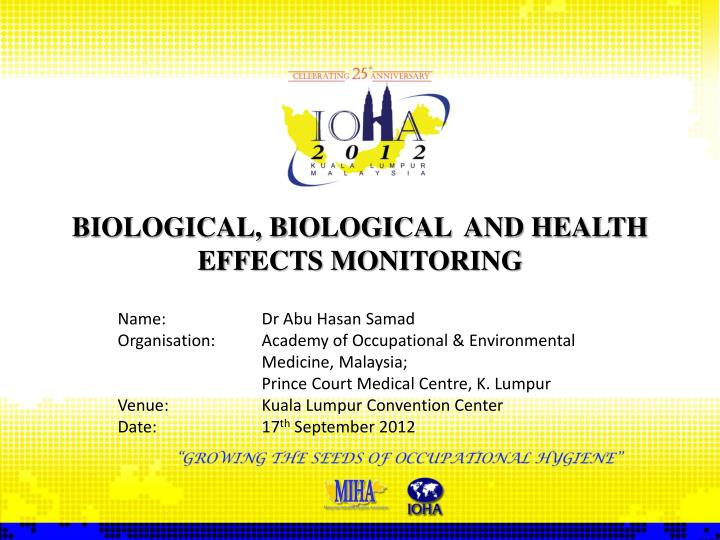 biological biological and health effects monitoring n.