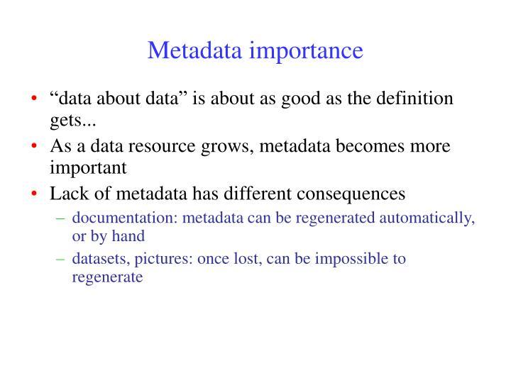 Metadata importance