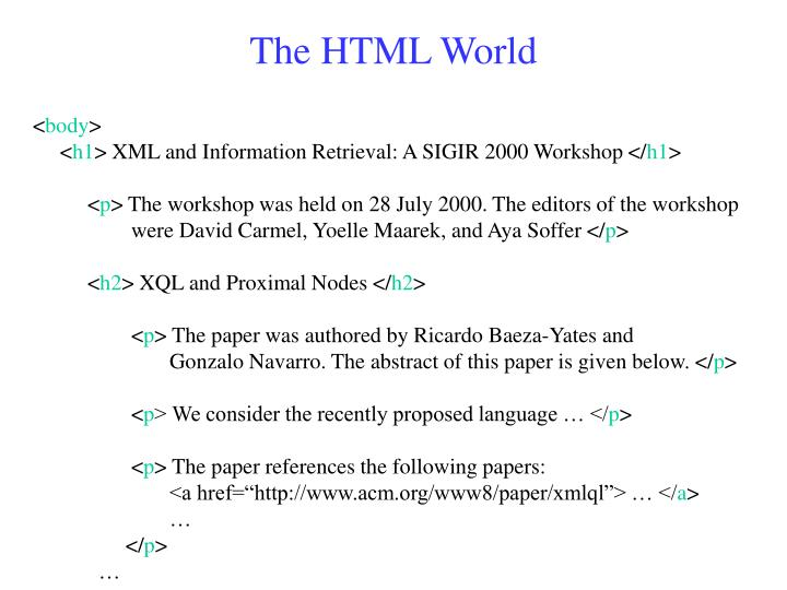 The HTML World