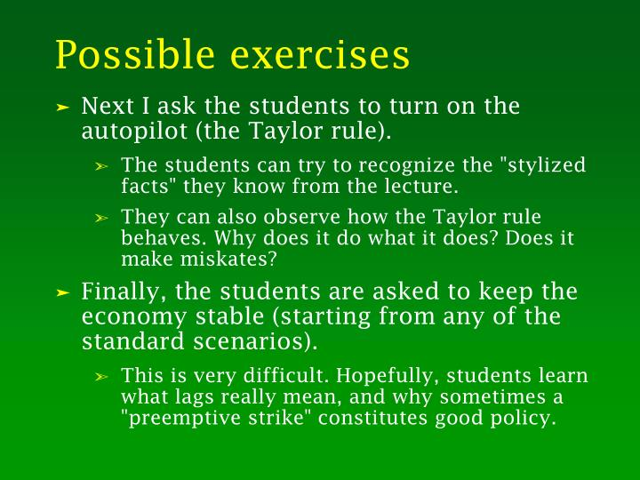 Possible exercises