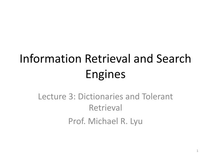 information retrieval and search engines n.
