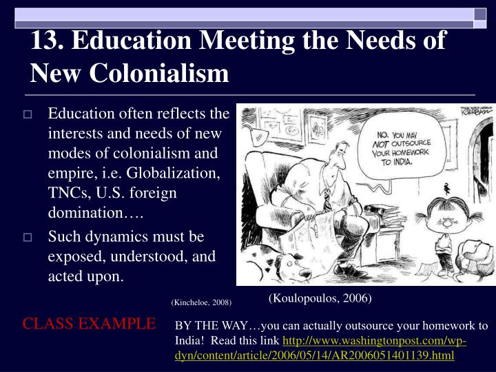 13. Education Meeting the Needs of New Colonialism