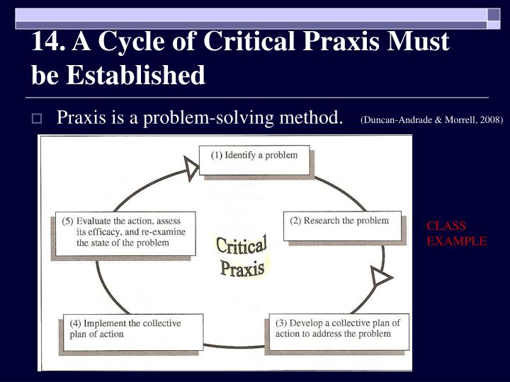 14. A Cycle of Critical Praxis Must be Established