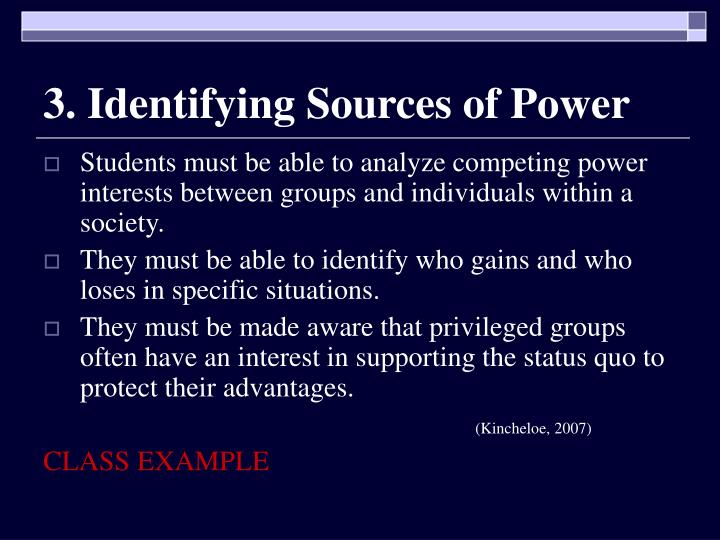 3. Identifying Sources of Power