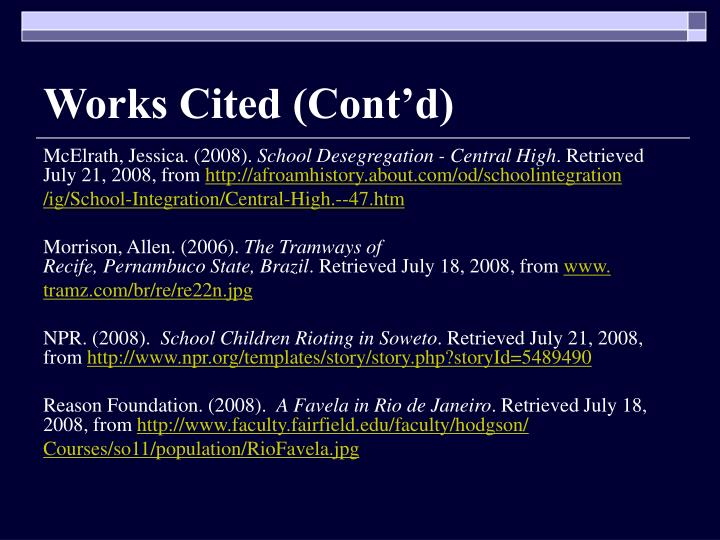 Works Cited (Cont'd)