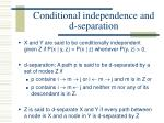 conditional independence and d separation