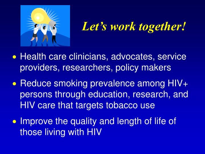 Let's work together!