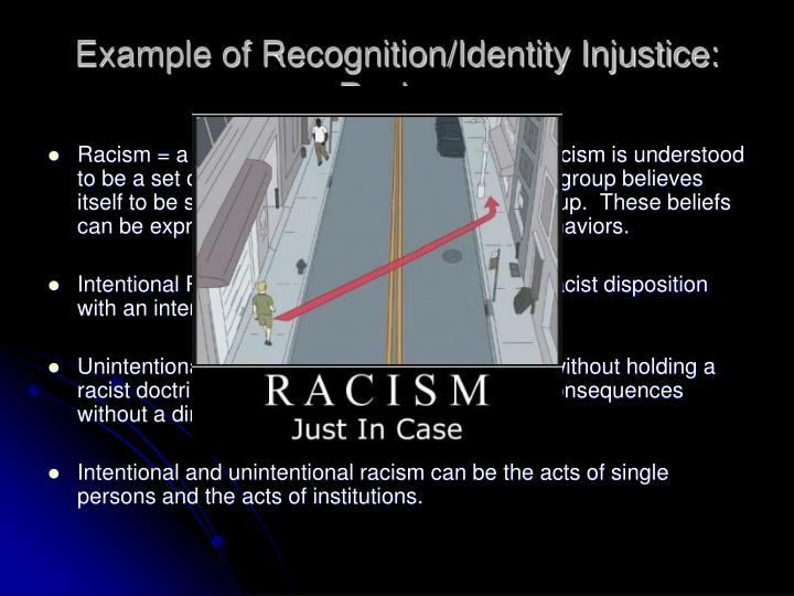 Example of Recognition/Identity Injustice: