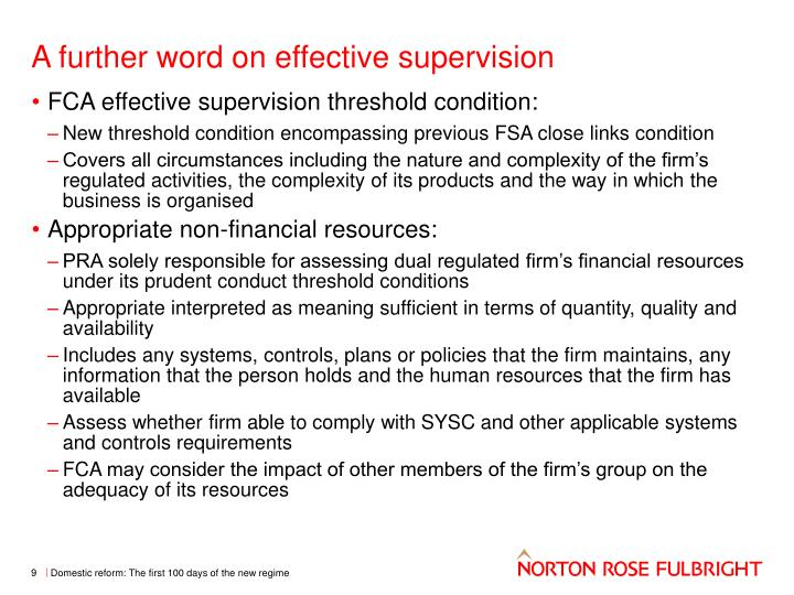 A further word on effective supervision