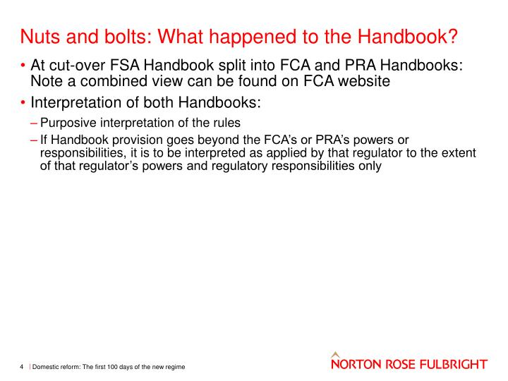 Nuts and bolts: What happened to the Handbook?