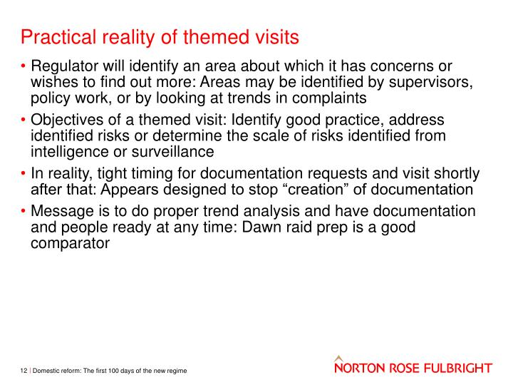Practical reality of themed visits