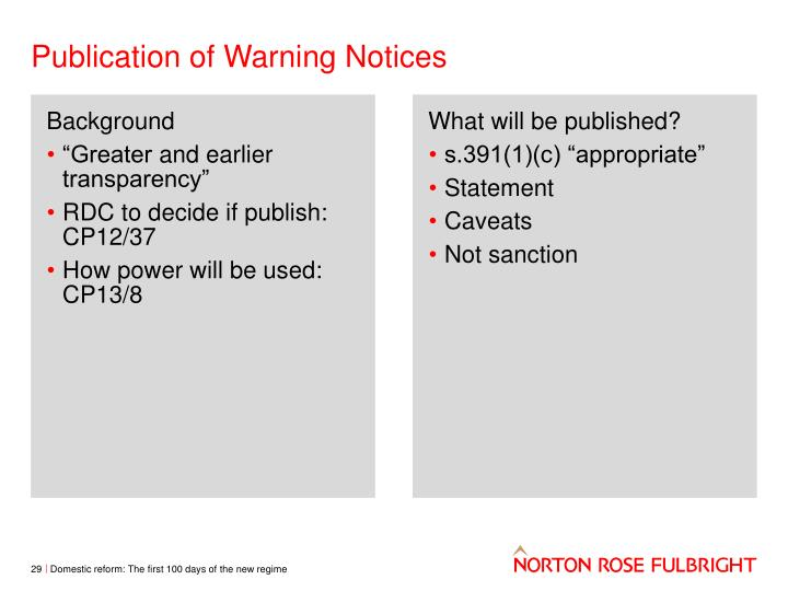 Publication of Warning Notices