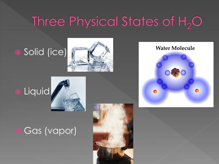 Three physical states of h 2 o