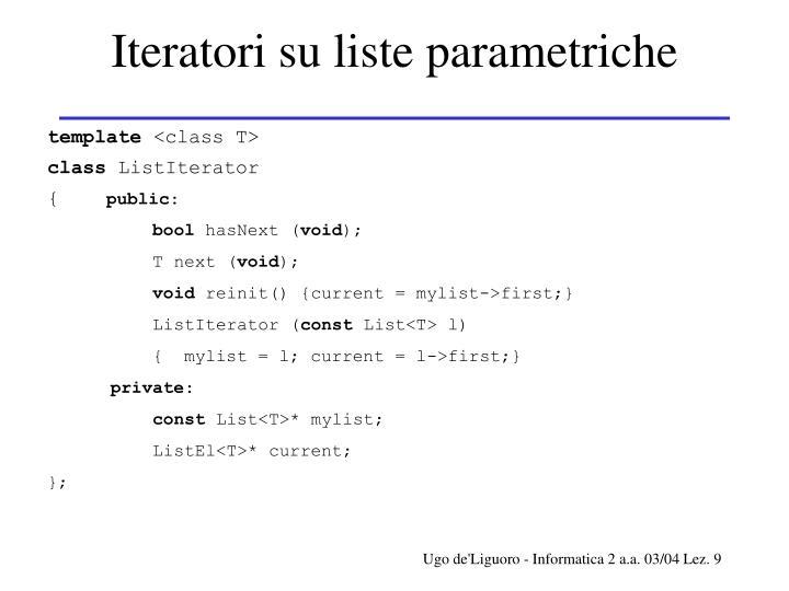 Iteratori su liste parametriche