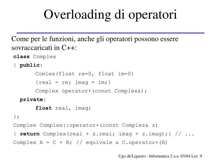 Overloading di operatori
