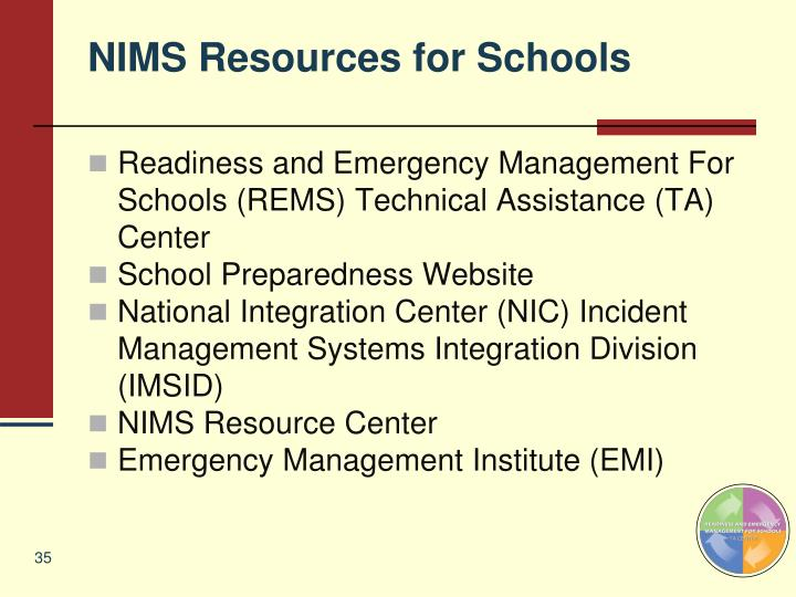 NIMS Resources for Schools