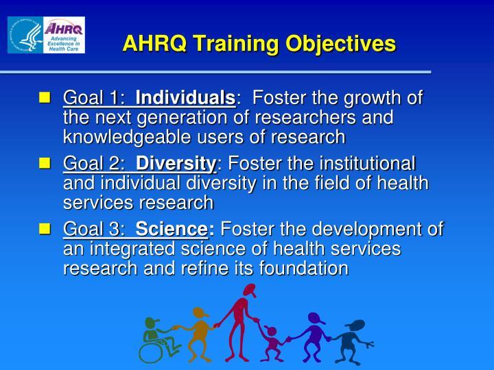 AHRQ Training Objectives