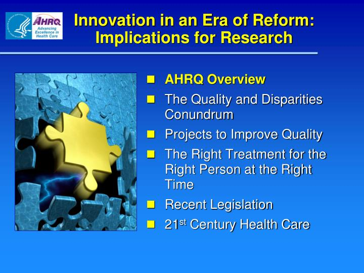 Innovation in an era of reform implications for research