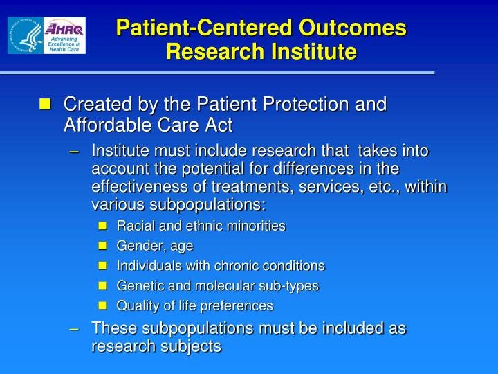 Patient-Centered Outcomes Research Institute