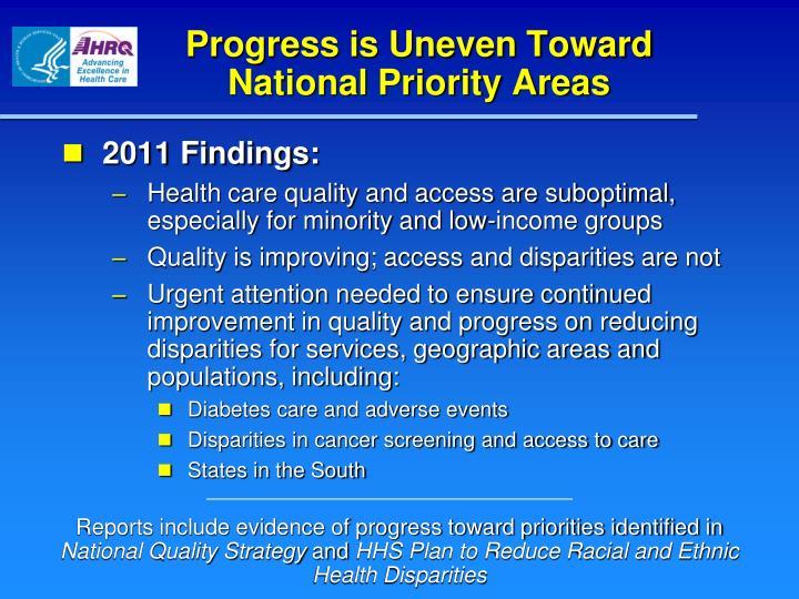 Progress is Uneven Toward National Priority Areas