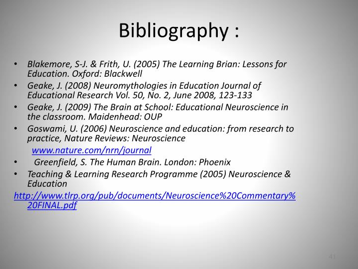 Bibliography :