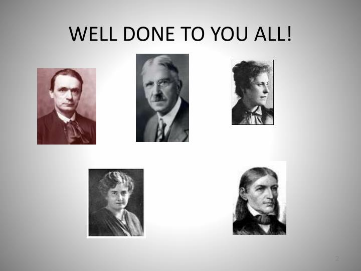 Well done to you all