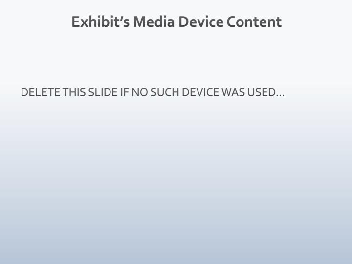 Exhibit's Media Device Content