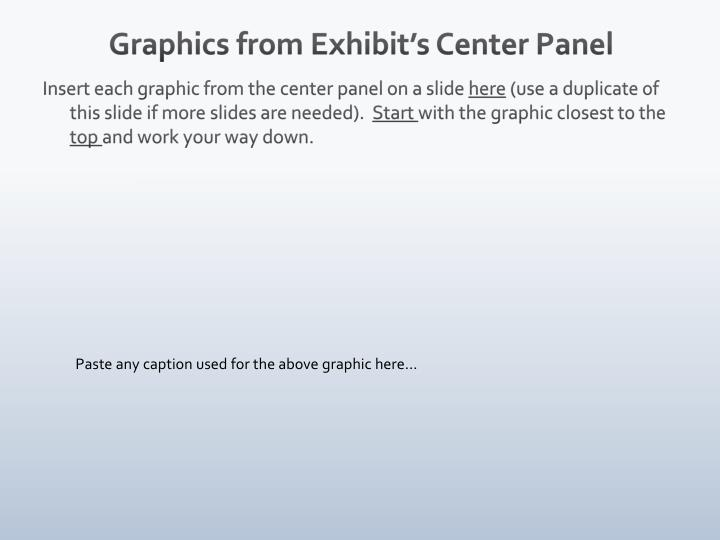 Graphics from Exhibit's Center