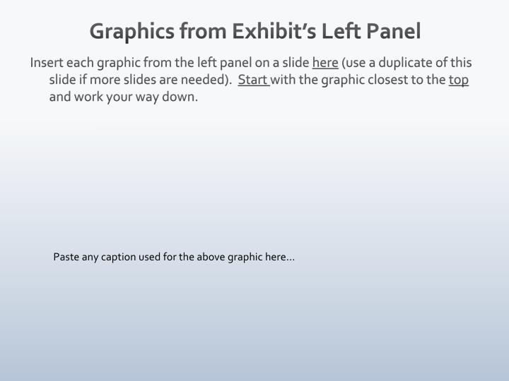 Graphics from Exhibit's Left
