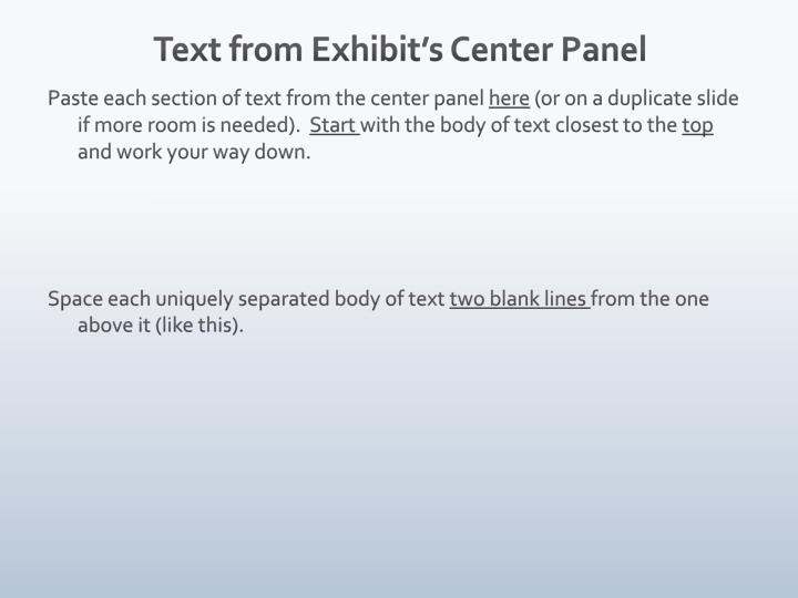Text from Exhibit's Center
