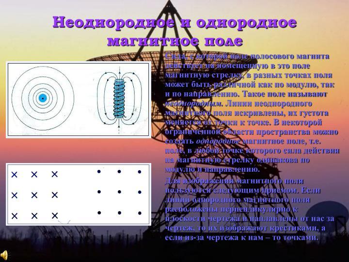 Неоднородное и однородное магнитное поле