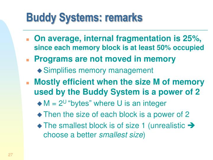 Buddy Systems: remarks