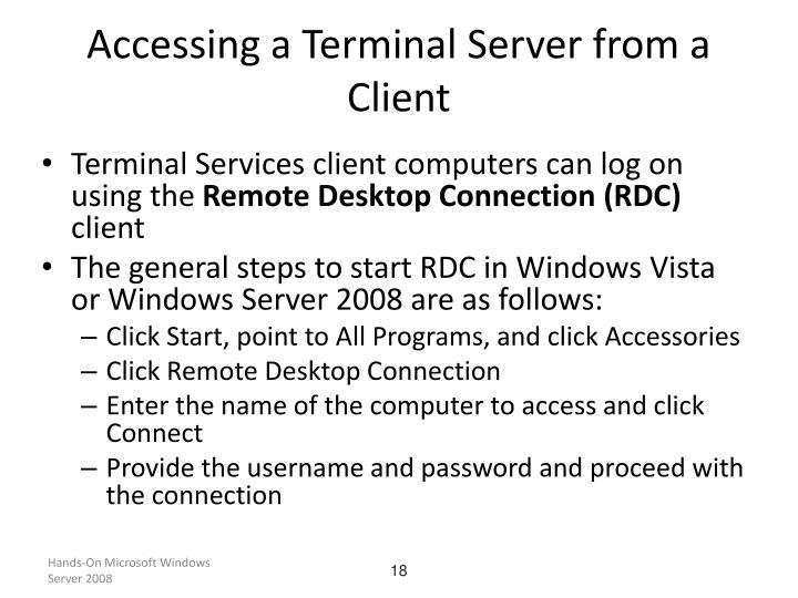 Accessing a Terminal Server from a Client