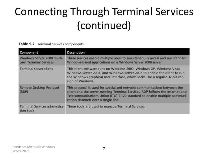 Connecting Through Terminal Services (continued)