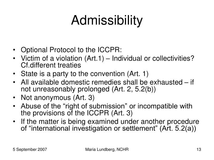 Admissibility