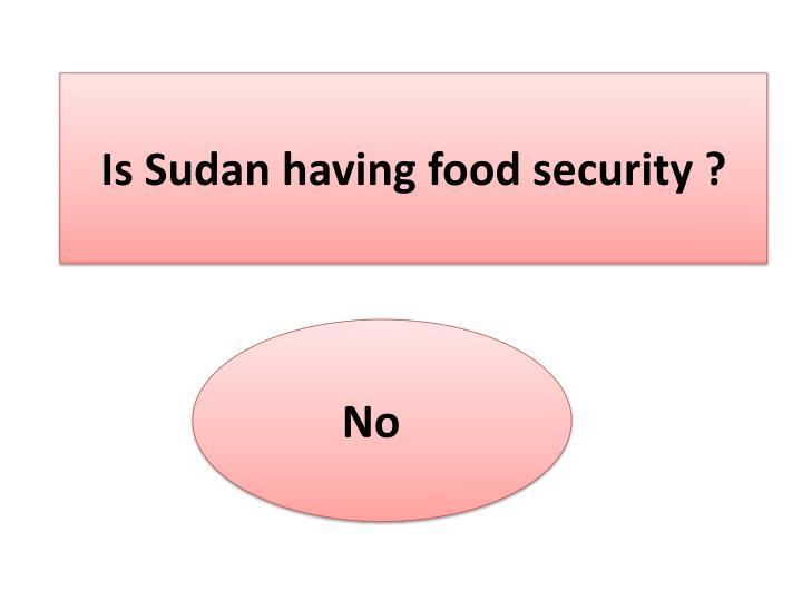 Is Sudan having food security ?