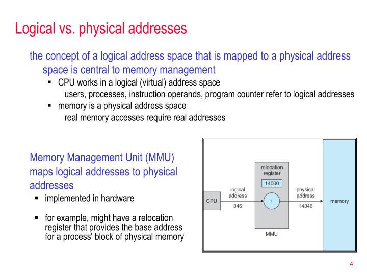 Logical vs. physical addresses