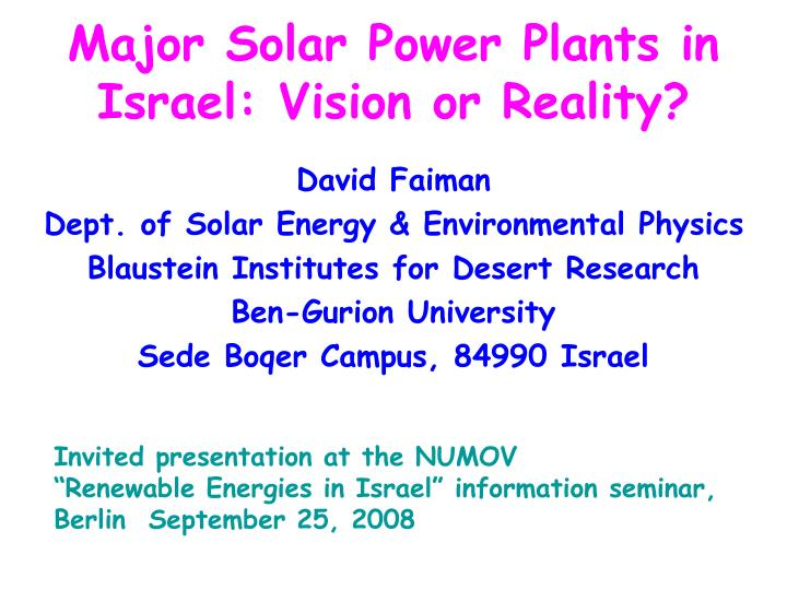 major solar power plants in israel vision or reality n.