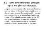 8 1 name two differences between logical and physical addresses2