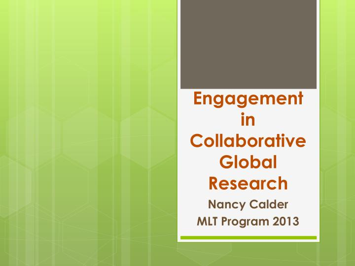 engagement in collaborative global research n.