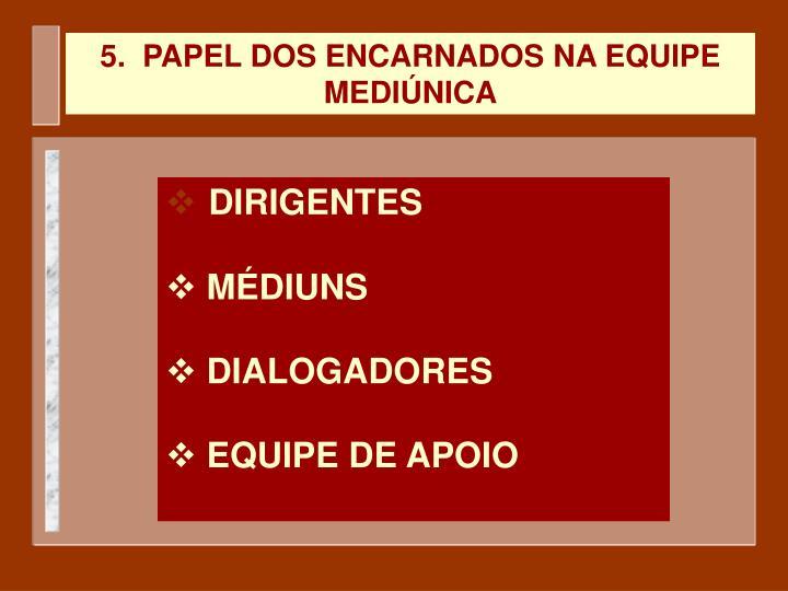 5.  PAPEL DOS ENCARNADOS NA EQUIPE MEDIÚNICA
