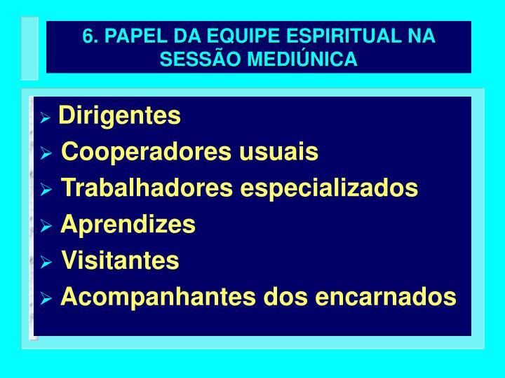 6. PAPEL DA EQUIPE ESPIRITUAL NA SESSÃO MEDIÚNICA