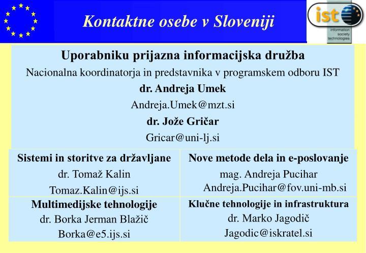 Kontaktne osebe v Sloveniji