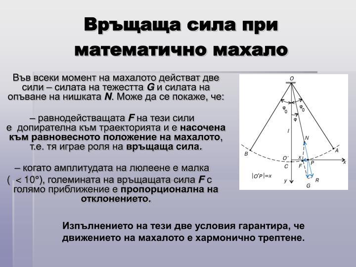 Връщаща сила при математично махало