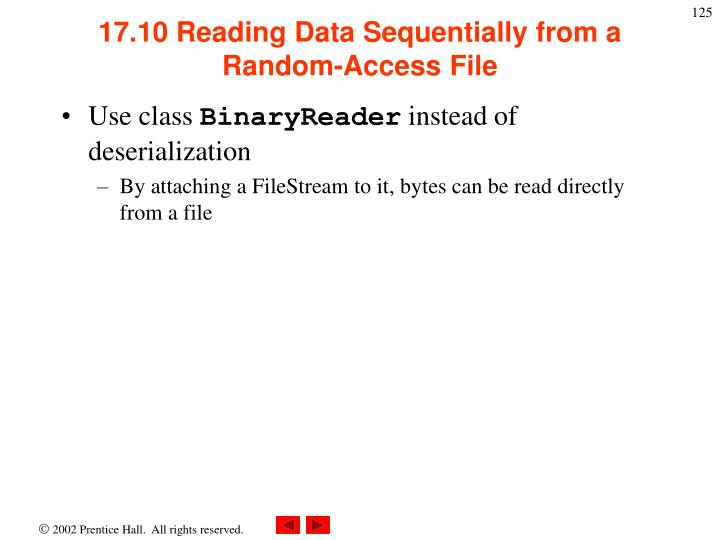 17.10 Reading Data Sequentially from a Random-Access File