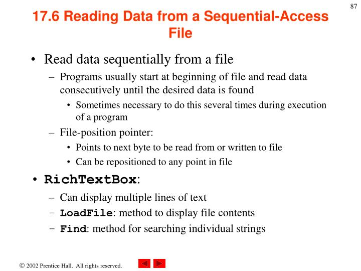 17.6 Reading Data from a Sequential-Access File