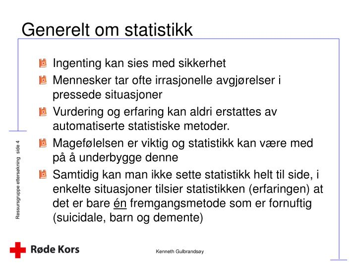 Generelt om statistikk