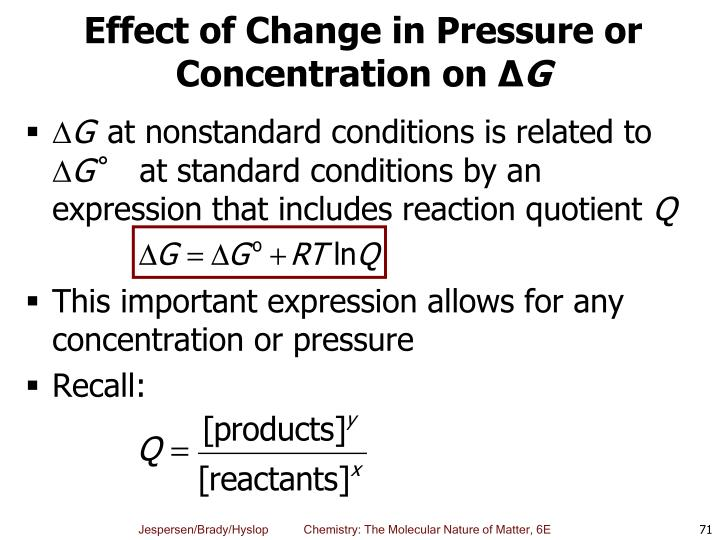 Effect of Change in Pressure or Concentration on