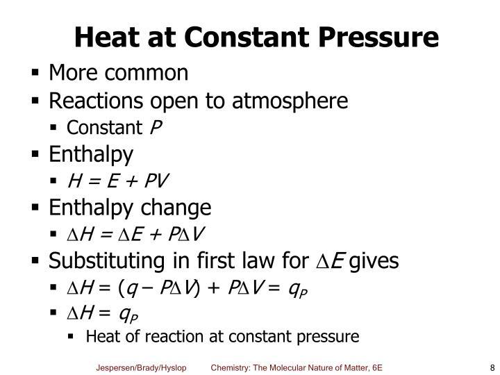 Heat at Constant Pressure