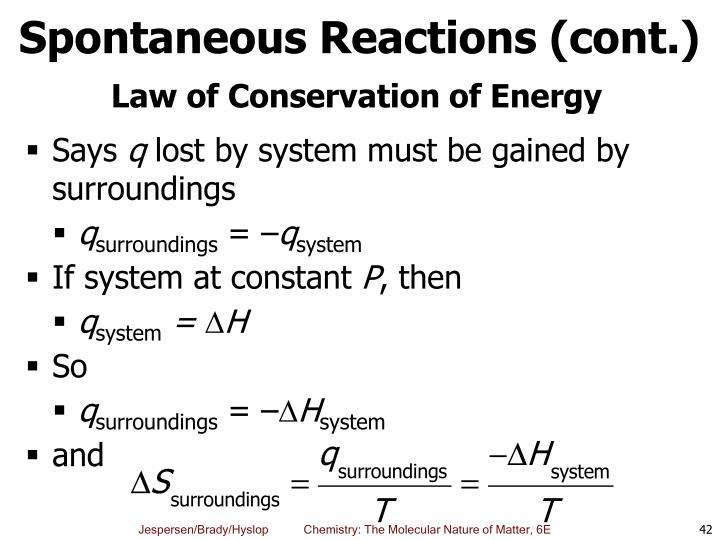 Spontaneous Reactions (cont.)